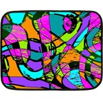 Abstract Sketch Art Squiggly Loops Multicolored Double Sided Fleece Blanket (Mini)  35 x27 Blanket Back