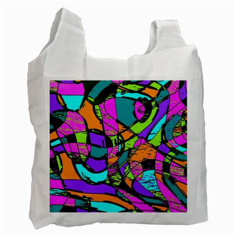 Abstract Sketch Art Squiggly Loops Multicolored Recycle Bag (One Side)