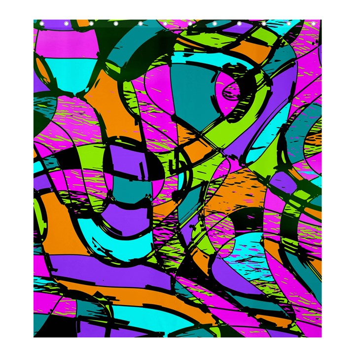 Abstract Sketch Art Squiggly Loops Multicolored Shower Curtain 66  x 72  (Large)