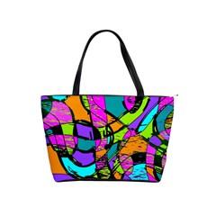 Abstract Sketch Art Squiggly Loops Multicolored Shoulder Handbags