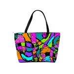 Abstract Sketch Art Squiggly Loops Multicolored Shoulder Handbags Back