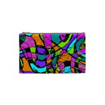 Abstract Sketch Art Squiggly Loops Multicolored Cosmetic Bag (Small)  Front