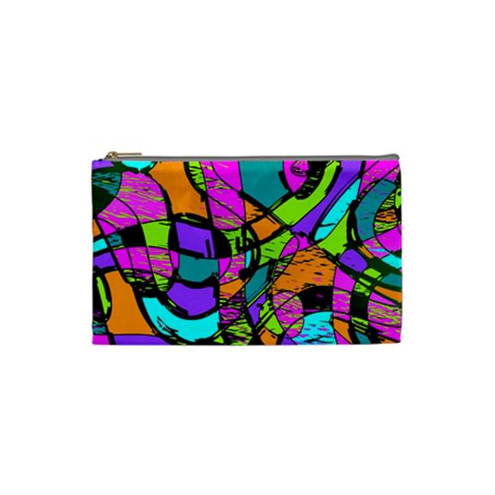 Abstract Sketch Art Squiggly Loops Multicolored Cosmetic Bag (Small)