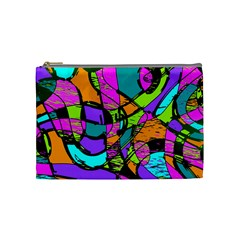 Abstract Sketch Art Squiggly Loops Multicolored Cosmetic Bag (medium)