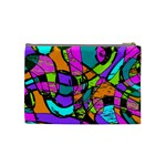 Abstract Sketch Art Squiggly Loops Multicolored Cosmetic Bag (Medium)  Back