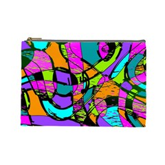 Abstract Sketch Art Squiggly Loops Multicolored Cosmetic Bag (large)