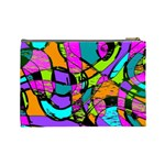 Abstract Sketch Art Squiggly Loops Multicolored Cosmetic Bag (Large)  Back