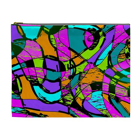 Abstract Sketch Art Squiggly Loops Multicolored Cosmetic Bag (XL)