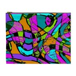 Abstract Sketch Art Squiggly Loops Multicolored Cosmetic Bag (XL) Front