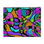 Abstract Sketch Art Squiggly Loops Multicolored Cosmetic Bag (XL) Back