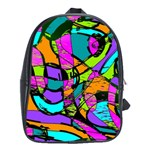 Abstract Sketch Art Squiggly Loops Multicolored School Bags(Large)  Front