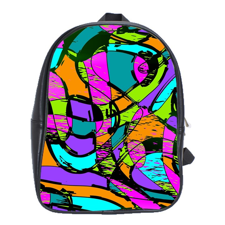 Abstract Sketch Art Squiggly Loops Multicolored School Bags(Large)