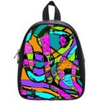 Abstract Sketch Art Squiggly Loops Multicolored School Bags (Small)  Front