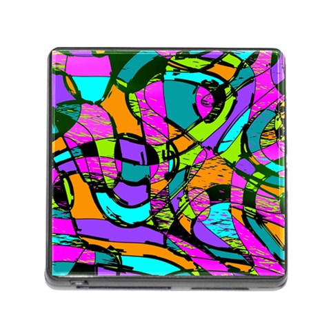 Abstract Sketch Art Squiggly Loops Multicolored Memory Card Reader (Square)