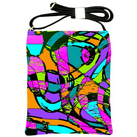 Abstract Sketch Art Squiggly Loops Multicolored Shoulder Sling Bags