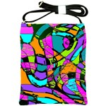 Abstract Sketch Art Squiggly Loops Multicolored Shoulder Sling Bags Front