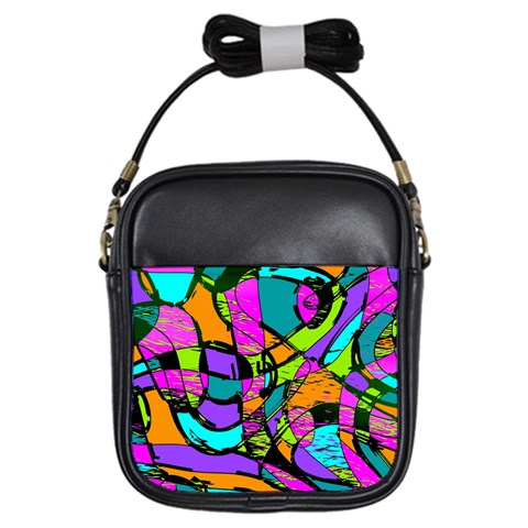 Abstract Sketch Art Squiggly Loops Multicolored Girls Sling Bags