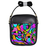 Abstract Sketch Art Squiggly Loops Multicolored Girls Sling Bags Front
