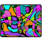 Abstract Sketch Art Squiggly Loops Multicolored Fleece Blanket (Medium)  60 x50 Blanket Front