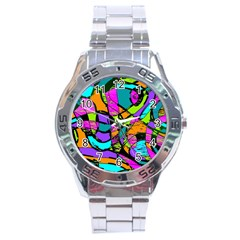 Abstract Sketch Art Squiggly Loops Multicolored Stainless Steel Analogue Watch