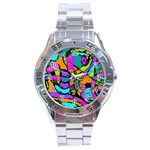 Abstract Sketch Art Squiggly Loops Multicolored Stainless Steel Analogue Watch Front
