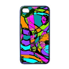 Abstract Sketch Art Squiggly Loops Multicolored Apple iPhone 4 Case (Black)