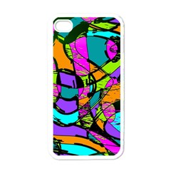 Abstract Sketch Art Squiggly Loops Multicolored Apple iPhone 4 Case (White)