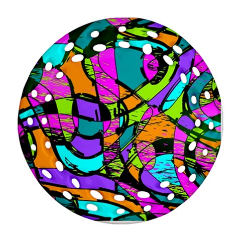 Abstract Sketch Art Squiggly Loops Multicolored Round Filigree Ornament (2Side)