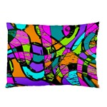 Abstract Sketch Art Squiggly Loops Multicolored Pillow Case (Two Sides) Front