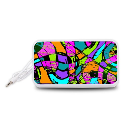 Abstract Sketch Art Squiggly Loops Multicolored Portable Speaker (White)