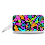 Abstract Sketch Art Squiggly Loops Multicolored Portable Speaker (White)  Front