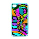 Abstract Sketch Art Squiggly Loops Multicolored Apple iPhone 4 Case (Color) Front