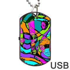 Abstract Sketch Art Squiggly Loops Multicolored Dog Tag Usb Flash (one Side)