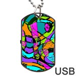 Abstract Sketch Art Squiggly Loops Multicolored Dog Tag USB Flash (One Side) Front