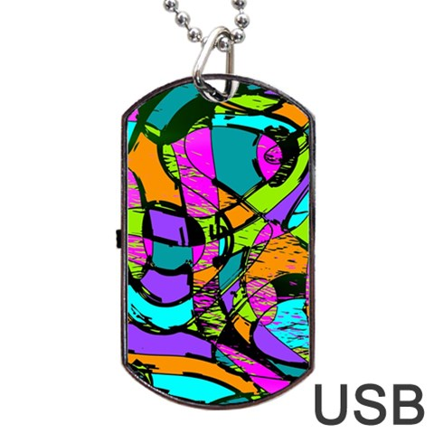 Abstract Sketch Art Squiggly Loops Multicolored Dog Tag USB Flash (Two Sides)