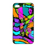 Abstract Sketch Art Squiggly Loops Multicolored Apple iPhone 4/4s Seamless Case (Black) Front