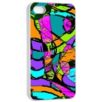 Abstract Sketch Art Squiggly Loops Multicolored Apple iPhone 4/4s Seamless Case (White) Front