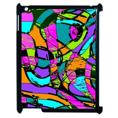 Abstract Sketch Art Squiggly Loops Multicolored Apple Ipad 2 Case (black)