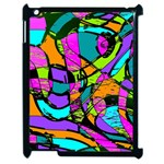 Abstract Sketch Art Squiggly Loops Multicolored Apple iPad 2 Case (Black) Front
