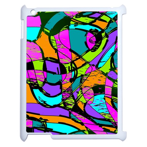 Abstract Sketch Art Squiggly Loops Multicolored Apple iPad 2 Case (White)