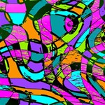 Abstract Sketch Art Squiggly Loops Multicolored Happy Birthday 3D Greeting Card (8x4) Inside