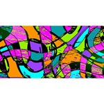 Abstract Sketch Art Squiggly Loops Multicolored Twin Heart Bottom 3D Greeting Card (8x4) Front