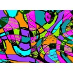 Abstract Sketch Art Squiggly Loops Multicolored LOVE Bottom 3D Greeting Card (7x5) Back