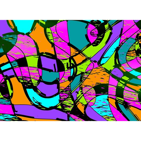 Abstract Sketch Art Squiggly Loops Multicolored Birthday Cake 3D Greeting Card (7x5)