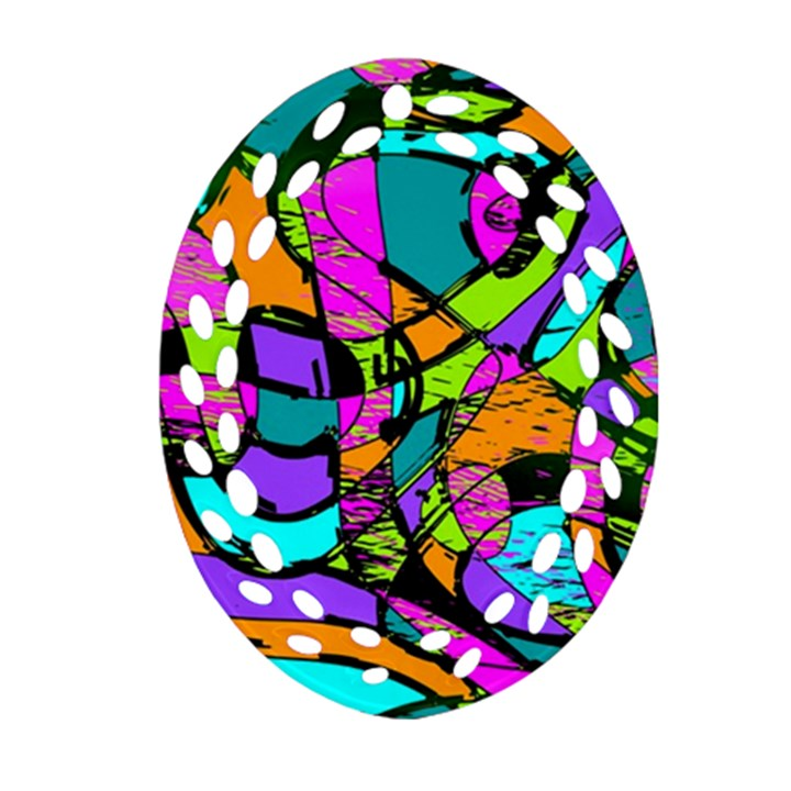 Abstract Sketch Art Squiggly Loops Multicolored Ornament (Oval Filigree)