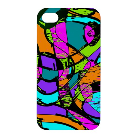 Abstract Sketch Art Squiggly Loops Multicolored Apple iPhone 4/4S Hardshell Case