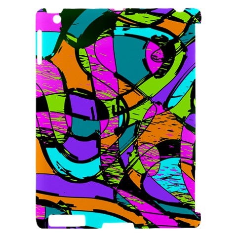 Abstract Sketch Art Squiggly Loops Multicolored Apple iPad 2 Hardshell Case (Compatible with Smart Cover)