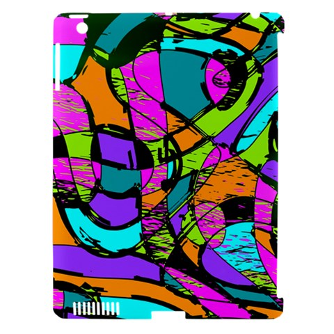 Abstract Sketch Art Squiggly Loops Multicolored Apple iPad 3/4 Hardshell Case (Compatible with Smart Cover)