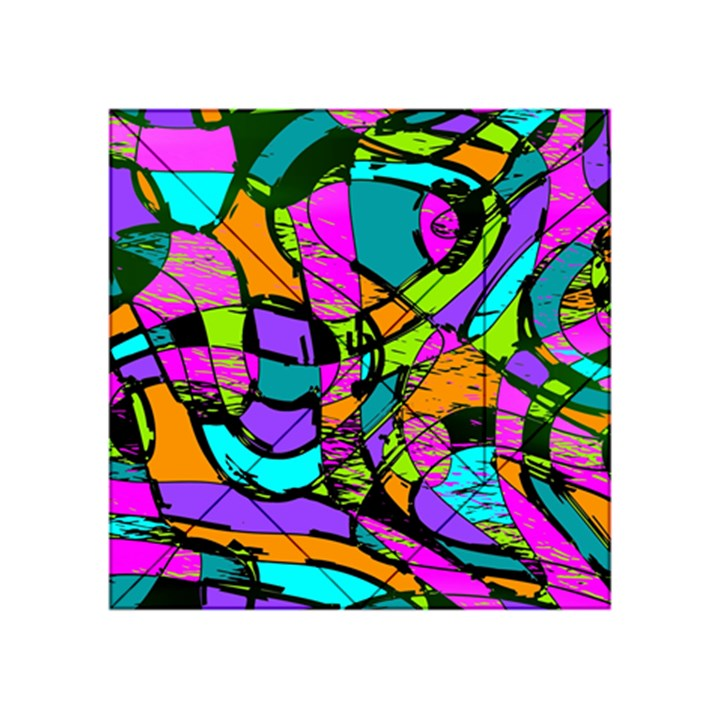Abstract Sketch Art Squiggly Loops Multicolored Acrylic Tangram Puzzle (4  x 4 )