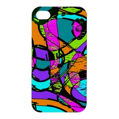 Abstract Sketch Art Squiggly Loops Multicolored Apple Iphone 4/4s Premium Hardshell Case